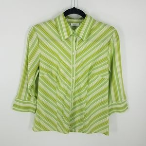 Apt 9 green button up career blouse size Small